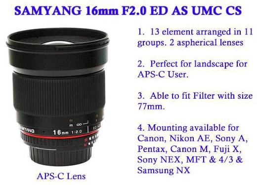 Компания Samyang анонсировала выпуск модели с фокусным расстоянием 16 мм и максимальной диафрагмой F/2