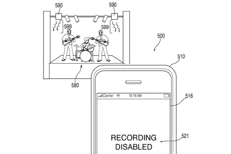Компания  Apple запатентовала технологию принудительного отключения камер на концертах