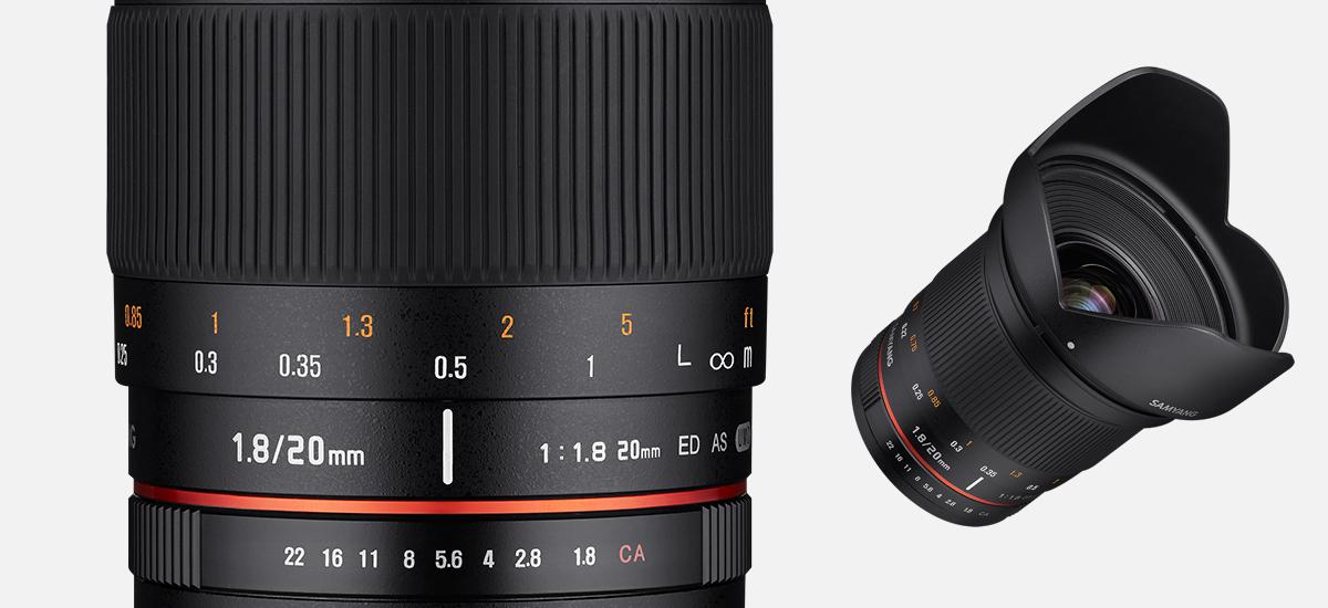 Сверхширокоугольный Samyang 20mm f/1.8 ED AS UMC для полнокадровых и кропнутых, зеркальных и беззеркальных камер