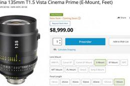 Анонсирован объектив Tokina 135mm T1.5 Vista Prime