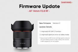 Обновлена микропрограмма SAMYANG AF 14mm F2.8 RF до версии 2